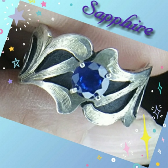 Native American Jewelry - Sterling Silver & Blue Sapphire Ring